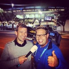 Na afloop van de finale van het WK2014 in Rio, met cameraman Martjjn Pot