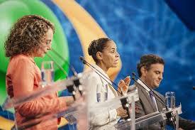 Marina Silva aan het woord tijdens het eerste TV debat van de verkiezingen in 2014